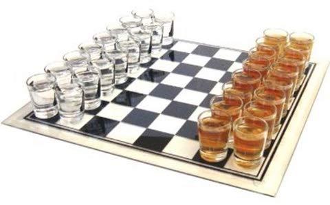 KMC Austria Design Juego de beber – Ajedrez – de cristal – Superficie de juego 35 x 35 cm