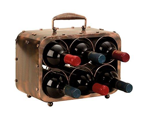 Lifestyle & More Moderner Weinregal Flaschenhalter im Koffermotiv zur Ablage von 6 Flaschen aus Metall Höhe 23 cm Breite 30cm