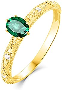 Daesar Anillos de Mujer Oro Amarillo 18K Oval Esmeralda Verde Blanca 0.3ct Talla 11