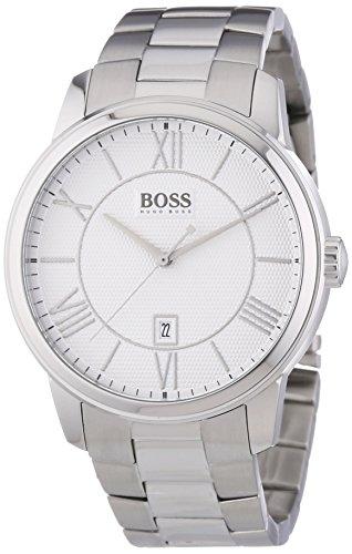 Hugo Boss Classico Round - Reloj Analógico de Cuarzo para Hombre, Correa de Acero Inoxidable Color Plateado