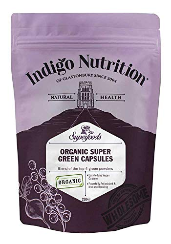 Indigo Herbs Organic Super Green Capsules 500mg | Spirulina, Chlorella, Wheatgrass, Barley Grass Mix | 250 Caps