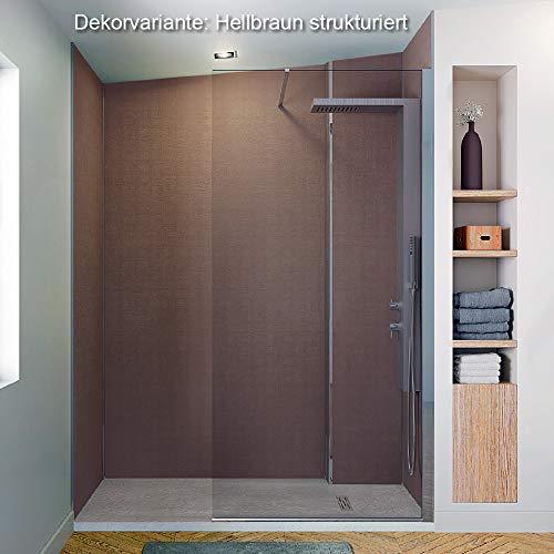 Wandverkleidung Duschrückwand, Dusche Fliesenersatz HPL, div. Größen und Dekore Höhe bis 244 cm, Wandpaneel Farbe Hellbraun strukturiert