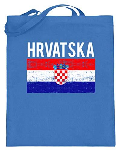 Kroatien - Fahne, Flagge, Kroatisch, Kroate, Kroatin, Zagreb, Hrvatska, Republik Kroatien - Jutebeutel (mit langen Henkeln)