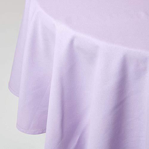 HOMESCAPES Nappe de Table Ronde, Linge de Table en Coton uni Mauve - 178 cm