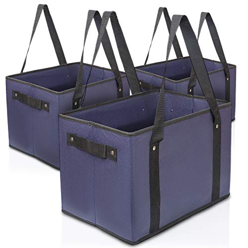 House Goody's - Reusable Shopping Bags Grocery Bags - Reusable - Heavy Duty Collapsible Shopping Box with Reinforced Bottom, Navy Blue (3-Pack)