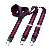 DonDon Bretelle uomo sottili 2,5 cm - 3 clips a y - elastiche con regolabili, a righe blu e rosse