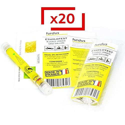 Le Pro du Médical - Alcoholímetro desechable 0,5 g/l – Norma NFX – Lote de 20 alcoholímetros