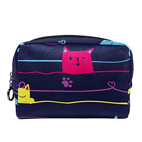 Kosmetische Schminktasche Bürstenhalter Reiseaufbewahrungskoffer Tragbare Kulturbeutel-Geldbörse mit schwarzem Reißverschluss für Frauen und Mädchen , Süße Katzen auf dem Draht