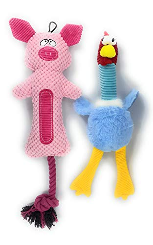 ZIP DOG Double Stitched Plush Dog Toys -1 Chicken 1 Pig with Squeaky Sound Fetch Interactive Dog ToyBest Suited for Small to Large Sized Dog Breeds and Puppies Buy 2 Kits for The Price of 1