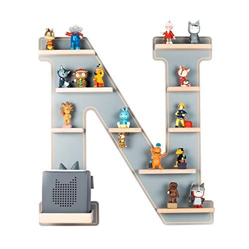 BOARTI das Original Kinder Regal Buchstabe N in Grau - geeignet für die Toniebox und ca. 45 Tonies - zum Spielen und Sammeln