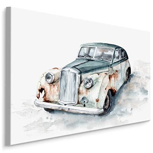 Muralo Lienzo decorativo de 120 x 80 cm, motorización de coche, retro, lienzo de pared con diseño de vehículo antiguo, oxidado, para dormitorio o salón, tamaño XXL, 528 x 120 x 80 cm