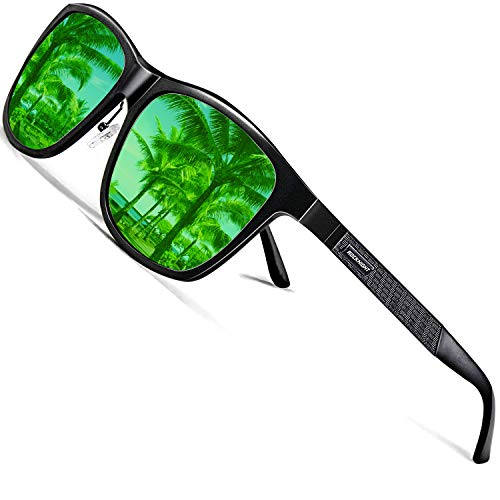 ROCKNIGHT Polarized UV Sunglasses for Men Mirror Green Oversized Sun Glasses Fashion Men Big Head Cool Sunglasses Fishing Gifts Lightweight Couple Beach Sunglasses