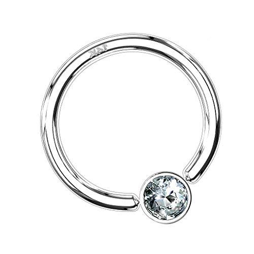 Piersando BCR Piercing Klemmring Ring 585er echt Gold mit Kristall Klemm Kugel Septum Nasen Lippen Helix Ohr Tragus 1,2mm x 6mm x 3mm Weißgold