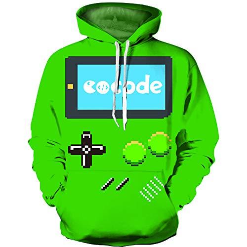 BMSYTY Yuxiang Code QL-6157 Series 3D Hoodies Langarm Pullover Unisex Sweatshirt 3D Hoody für Männer und Frauen mit Gameboy Entwurf,s/m
