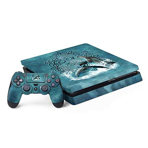 Skinit Decal Gaming Skin Compatible with PS4 Slim Bundle - Officially Licensed Tate and Co. Dolphin Celtic Knot Design