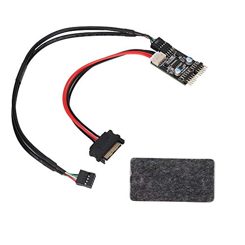 9-pins USB-headerverlenging distributiekabel (1 naar 2), USB 2.0 header (9PIN naar Dual 9PIN Extension HUB) met SATA-voedingskabel