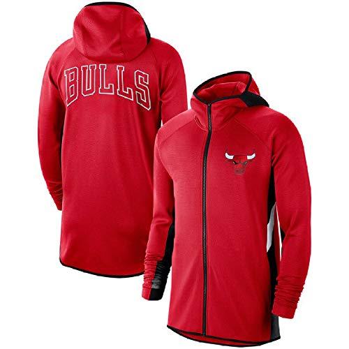 JesUsAvila Hombre Chaqueta Entrenamiento Chicago Bulls Cardigan Zipper Casual Basketball Sudadera con capucha Transpirable Y/Rojo/XL