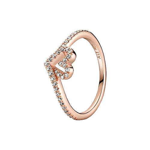 Pandora Wish Sparkling Wishbone Heart Ring Made of 14K Rose Gold Plated Sterling Silver/Ring Size: 52
