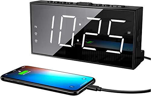ROCAM Wecker Digitaler für Schlafzimmer, LED-Wecker mit Schlummerfunktion, 7 '' großes Display, Doppelalarm, USB-Ladegerät, 5 Helligkeit, 15 Stufen Alarmlautstärke, 12 / 24H DST - Weiß