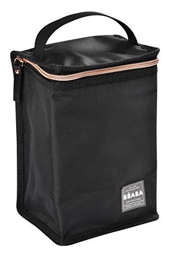 BÉABA - Isoliertasche für Babymahlzeiten - Geräumig - Aufbewahrung von Baby-Flaschen - Tasche für komplette Mahlzeiten - Zusammenlegbar - Weiches und wasserdichtes Material - Schwarz/Rosa