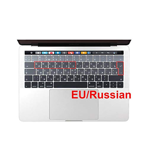All-Equal Eu Russian Ukraine Spanish French Keyboard Cover Sticker For Macbook Pro 13 15 Touch Bar 2019 A2159 A1706 A1707-Eu Russian Grey-