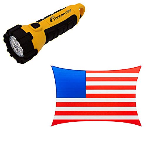Toucan City LED Flashlight and COLOURTREE 12 ft. x 8 ft. 190 GSM Vibrant Patriotic Rectangle Sun Shade Sail, Outdoor Patio and Pergola Cover (Stars Not Included) TAPR0812-18