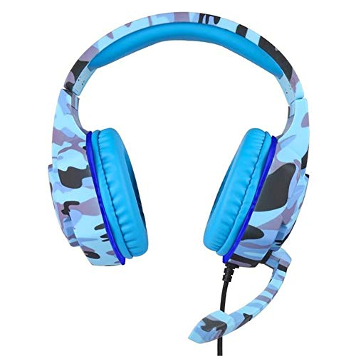 SMAQZ Gaming Headset, Universal 3.5Mm K17 Headphones Gaming Headset con Micrófono Mic LED Luces Auriculares para PC Laptop PS4 Pro,Azul
