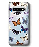 SPEVERT Galaxy S10 Case,Samsung Galaxy S10 Case, Flower Pattern Printed Clear Design Transparent Hard Back Case with TPU Bumper Cover for Samsung Galaxy S10 6.1 inch 2019 Released (Butterfly)
