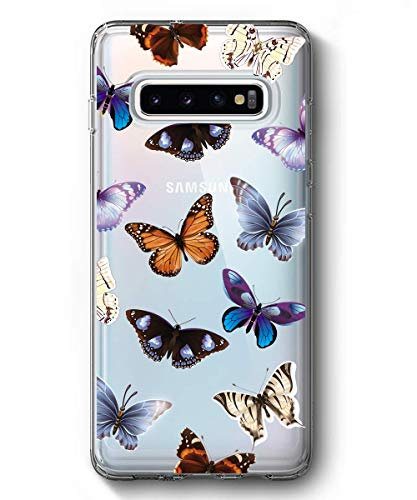 SPEVERT Galaxy S10 Case,Samsung Galaxy S10 Case, Flower Pattern Printed Clear Design Transparent Hard Back Case with TPU Bumper Cover for Samsung Galaxy S10 6.1 inch 2019 Released - Butterfly
