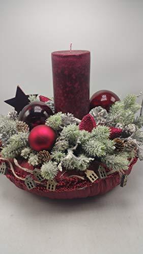 Weihnachtskranz Weihnachtsgesteck Adventskranz Kerze Kugeln Sterne Zapfen rot XL