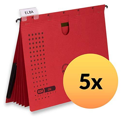 ELBA 100333013 Mehrfach-Hängehefter chic ULTIMATE 5er Pack aus Recycling-Karton für DIN A4 mit 5 Trennblättern und Heftungen Inenntasche am Rücken in rot
