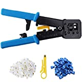 EZ RJ45 Crimp Tool Kit,Knoweasy Pass Through Cat5 Cat5e Cat6 Crimping Tool for RJ45/RJ12 Regular and End-Pass-Through connectors with 50PCS Connectors, 50PCS Covers with Network Wire Stripper