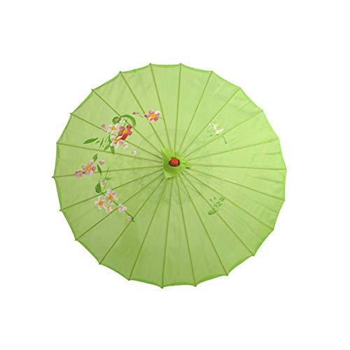 XKMY Paraguas de papel de aceite hecho a mano, paraguas de seda chino, vintage, para boda, fotos, sombrillas de danza, paraguas de seda, para boda, decoración del hogar (color: verde)