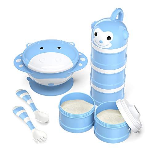 BabyKing Baby Feeding Set, Harmless & Cartoon, Baby Suction Bowl Set, Children Tableware Set, Suction Bowl, Spoons Forks Set, Milk Powder Dispensers for Baby's 3 Meals (Blue)