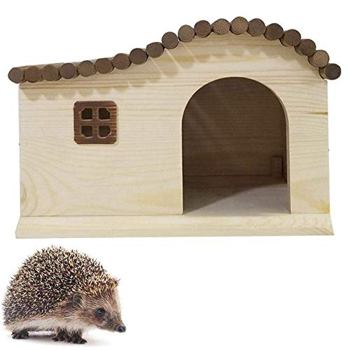 NLRHH Hedgehog Houses for Garden Waterproof, Wave Roof with Bottom Pine Wooden Hedgehog Feeding Station Hibernation Shelter Small Animal House Hedgehog Box Outdoor Cat House Summer Winter Dormi.