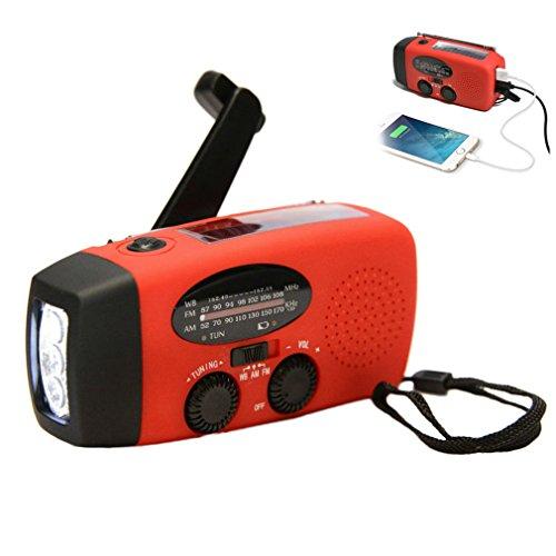 Buwico® Radio météo à énergie solaire à manivelle AM/FM/NOAA à utiliser comme lampe de poche LED d'urgence et banque d'alimentation