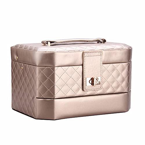 POMNEFE Caja de joyería, caja de joyería de gran capacidad, caja de joyería de viaje aureate, caja de joyería de almacenamiento de cuero, caja de almacenamiento de joyería de tres capas
