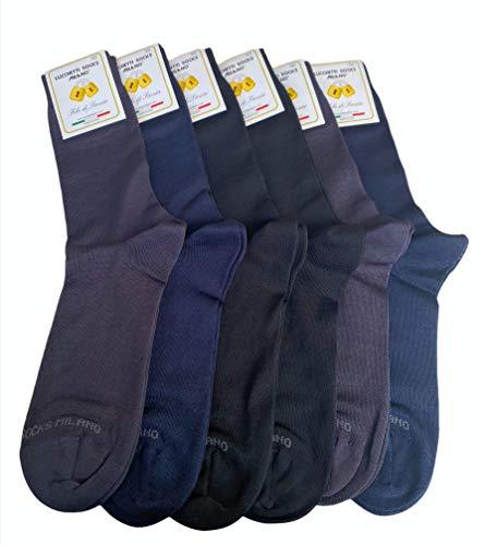 Lucchetti Socks Milano 6 paia calze uomo CORTE cotone filo di scozia elasticizzato estive in fantasia (2 NERO-2 BLU-2 ANTRACITE)