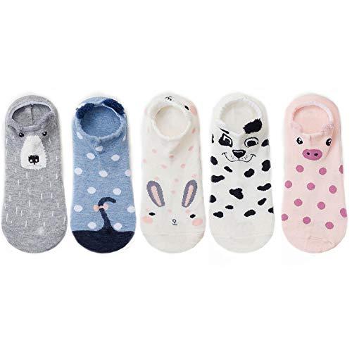 FENGHUAN 5 Pares de Calcetines de algodón para Mujer estereoscópicos Animal Lindo Gato PerroCalcetines Cortos Mujeres Casual Suave Divertido Calcetines 5pairs08