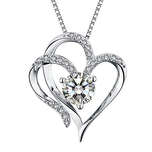 Heart Necklace 14K White Gold Plated 5A Cubic Zirconia Pendant Necklaces for women