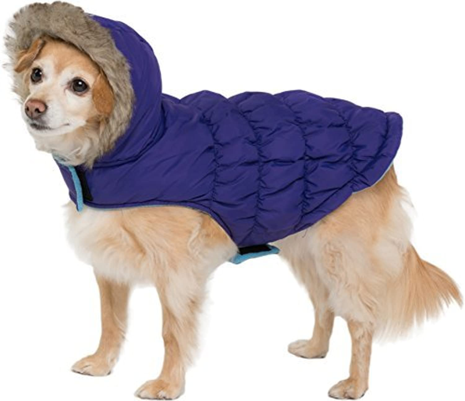 Navy bluee Quilted Vest Cozy Waterproof Windproof Winter Jacket Coat Sweater Hoodie Furry Collar Citron Harness Pet Puppy Dog Christmas Clothes Costume Outwear Coat Apparel Cat (Medium)
