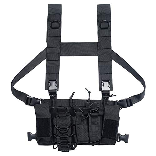 EFINNY Men Women Tactical Chest Rig Bag Radio Harness Chest Front Pack Pouch Holster Military Vest Chest Rig Bag Adjustable Two Way Radio Pocket Waist Pack