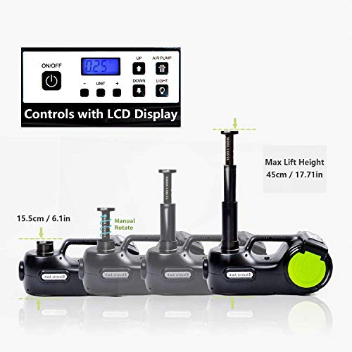 E-HEELP Electric Car Jack 5 Ton 12V Hydraulic Car Jack Lift with Electric Impact Wrench for SUV MPV Sedan Truck Change Tires New Version with LCD Display Updated Kit