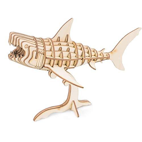 Creativity Toys | GEBÄUDE Handwerk Puzzles-Wooden 3D Puzzle Modell Kits-Mini Tier Spielzeug KIT-Beste BILDUNGSGESCHENKE FÜR Jungen UND MÄDCHEN (Shark)