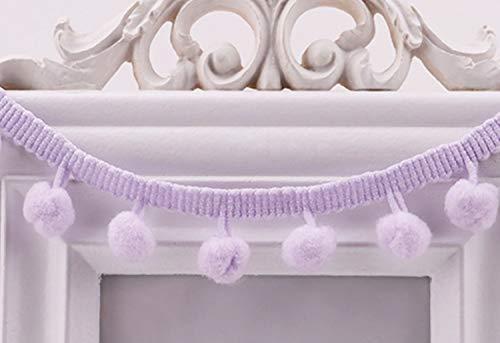 MSCFTFB 20 Yards Mini Pom Pom Trim Ball Fringe Ribbon Sew on Pom Pom Fringe Tassel Lace for Clothing Home Decoration Wedding Gift Crafts DIY Sewing Accessory (Lavender)