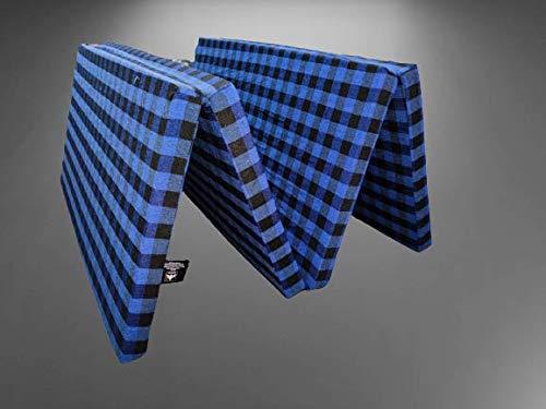 MOROFEEL 2 Inch Dual Comfort Reversible Foldable EPE Foam Single Bed Mattress (4 Fold, Blue & Black)