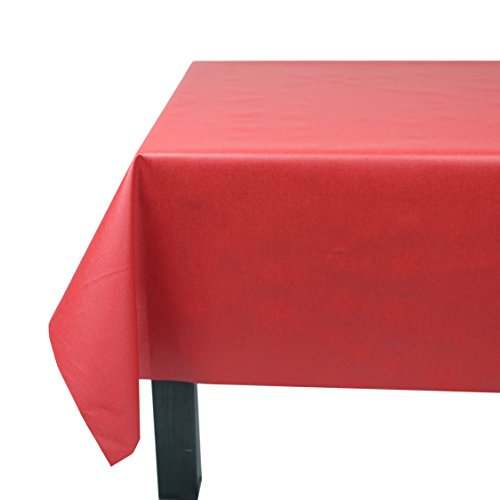 Nappe Carrée anti-tache imperméable 160x160cm Uni Rouge par Fleur de Soleil - coton enduit - sans solvant - sans phtalate - 100% fabrication française