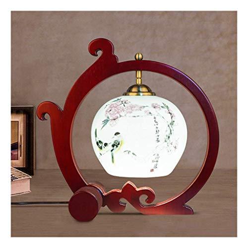 FGDSA Lámpara de Escritorio Lámpara de Mesa Retro Chinacalcomanía de cerámicadecoración de Madera de bambúluz de EscritorioInterruptor de botón E27Sala de Estarsofá Dormitorio Estudio