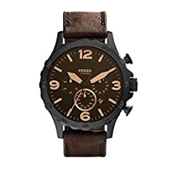 Case size: 50mm; Band size: 24mm; quartz movement with 3-hand analog display; mineral crystal face; imported Black plated stainless steel case; black dial with date window and rose gold tone Arabic numerals Genuine brown leather band with buckle clos...