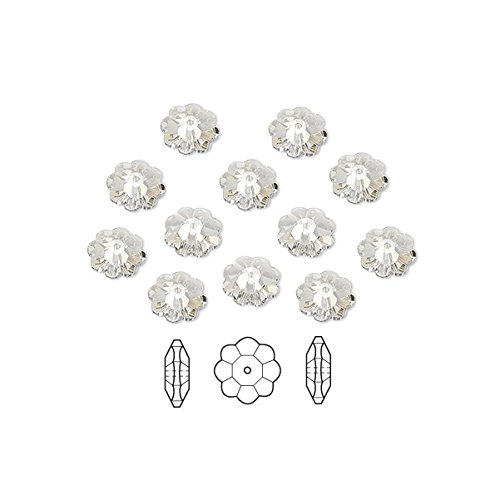 Swarovski Crystal Beads Faceted Marguerite Flower 3700 Silver Shade 6x2mm Package of 12